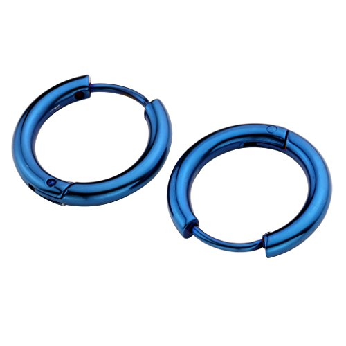 Zysta 2-14pcs Stainless Steel Blue Small Round Tube Endless Hoop Earrings, Hypoallergenic for Cartilage, Nose, Ears, Tragus