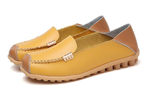 VenusCelia Women's Comfort Walking on Air Flat Loafer(6 B(M) US,Yellow) by VenusCelia (Image #1)