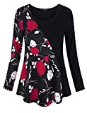 VALOLIA Floral Tunic Shirt, Women's Cute Tribe Vintage Bohemian Patchwork Henley Casual Tshirt Relaxed Fit Tunic Tops Black Red Flower L
