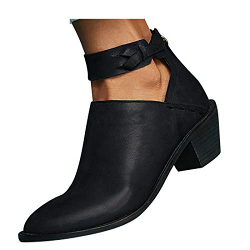 VANDIMI Womens Retro Ankle Boots Chunky Heel Cut Out Strap Block Stacked Booties Zipper PU Leather Shoes ()