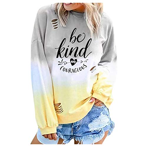 Spring Color  Women's Basic Printed Rainbow Color Shirt Be Kind & Gourageous Long Sleeve O Neck Tops Tee Blouse -