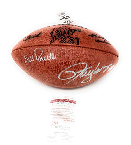 (Lawrence Taylor Bill Parcells New York Giants Dual Signed Autograph Authentic Super Bowl XXI NFL Football JSA Witnessed Certified)