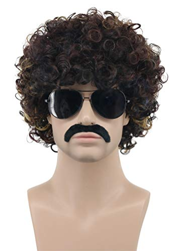 Karlery Men Women Rocker Short Bob Curly Brown Gold Mustache Beard Wig California Halloween Cosplay Wig Anime Costume Party Wig]()