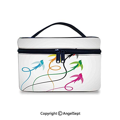 Hot Sale Makeup Bag With Compartments,Flying Birds Decor Group of Colorful Swallow Birds Flying to the Sky Hope Phoenix Courage Wings Graphic Art,10x7x6inches,Waterproof Cosmetic Travel Bag
