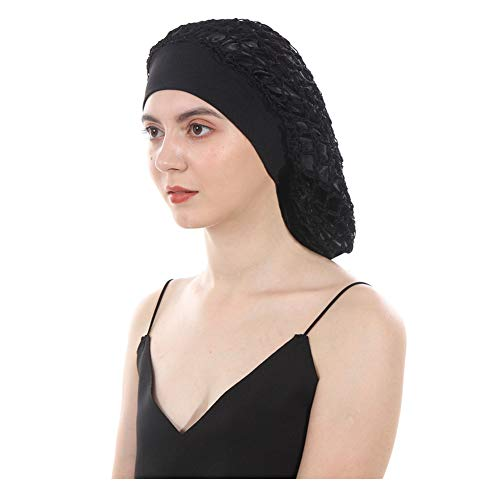 DuoZan Vintage Elastic Wide Band Snood Bonnet Double Layered Hair Net Night Sleep Hat Crocheted Slouchy Beanie (Black) (Net Wrap Hair)