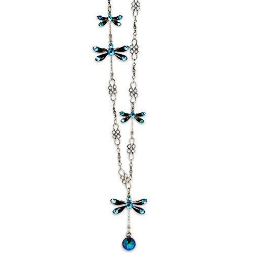 Anne Koplik Silvertone Bermuda Blue Swarovski Crystal Stacked Dragonfly Necklace