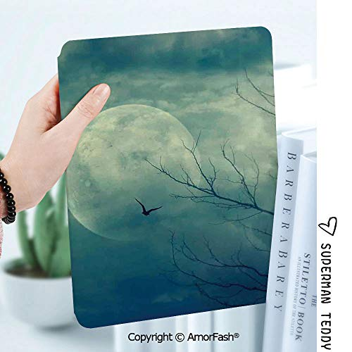 Case for Samsung Galaxy Tab A 8.0 2017 Model T380 / T385, Smart Slim Shell Stand,Horror House Decor Halloween with Full Moon in Sky and Dead Tree Branches Evil Haunted Forest -