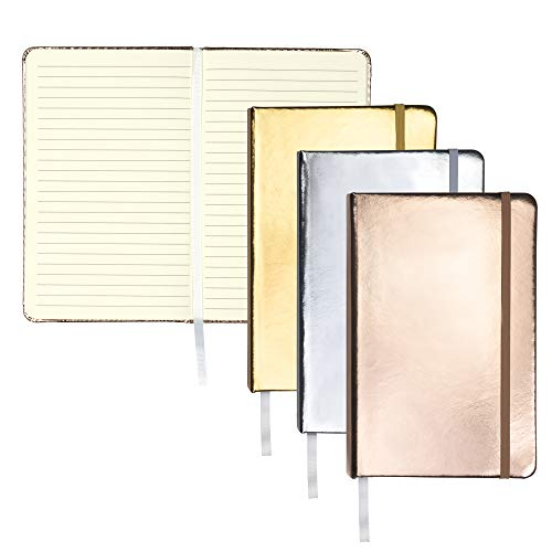 Samsill Hardcover Writing Notebook 80 Ruled Sheets (160 Pages) - Metallic Journal Set Silver, Gold, and Rose Gold Journal 3 Pack/Classic 5.25