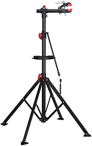Adjustable Bike Repair Stand with Tool Tray 75 LBS Capacity Quick Release Red