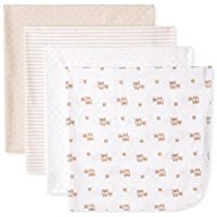 Gerber Unisex-Baby Newborn 4 Pack Flannel Blanket Bears, Brown, One Size