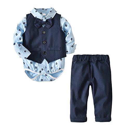 Newborn Baby Boys Infant Gentleman Set Suit Cotton Bowtie Romper Jumpsuit Clothes Toddler 4Pcs Outfit (Navy Blue,80/6-12 Months)