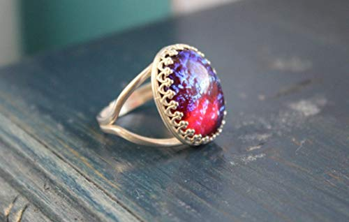 Dragons Breath glass Opal ring, Sterling Silver ring, 13x18, Lace bezel, adjustable ()