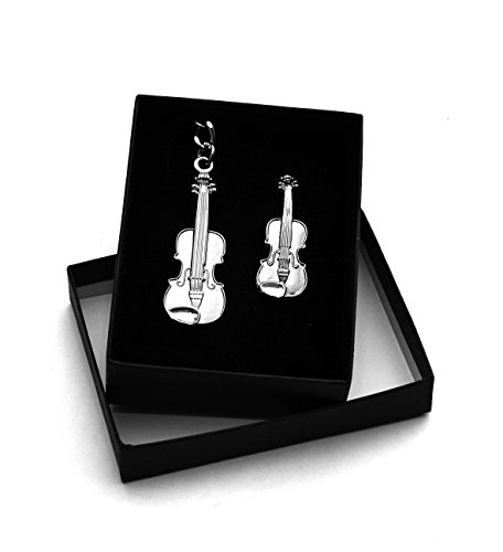 Violin Gift Set Includes Keychain and Broch in a gift box - Polished Pewter Blocks