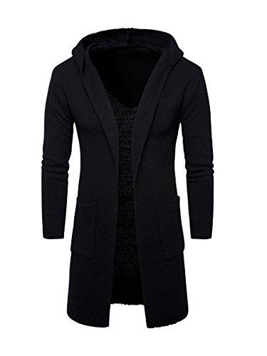 Evaliana Thick Men Knit Hooded Cardigan Sweater Knitwear Jumper