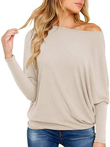 Imysty Womens Off The Shoulder Tops Casual Batwing Sleeve T Shirts Oversized Pullover Tunic Blouse