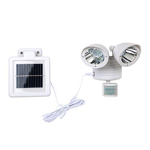 (SODIAL 22 Led Dual Security Detector Solar Spot Light Motion Sensor Outdoor Floodlight White)