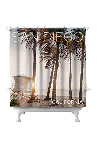 Lantern Press San Diego, California - Lifeguard Shack and Palms 80814 (74x74 Polyester Shower Curtain) (Crate Barrel Diego San &)