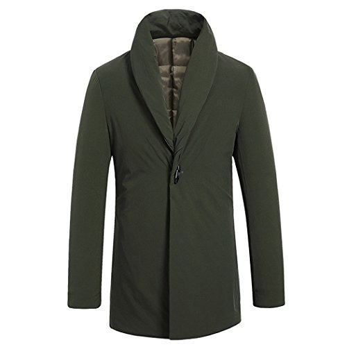 HHY-Pure color long middle aged men leisure self cultivation men's cotton padded clothes,Army green,170