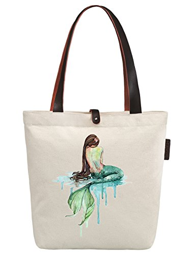 So'each Women's Mermaid Art Pattern Graphic Canvas Handbag Tote Shoulder Bag