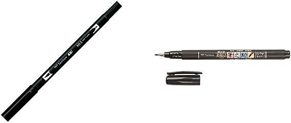 Tombow ABT-N15 Rotulador permanente doble (1 unidad), color negro + WS-BS Fudenosuke Pluma escobilla, punta blanda, tinta negra: Amazon.es: Oficina y papelería
