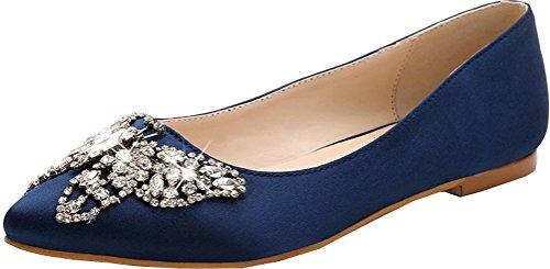 Abby Womens Nieuwe Mode Bruiloft Feestjurk Casual Rijden Ondiepe Mond Spitse Slip Op Flats Pomp Blauw
