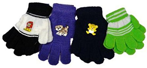 - Four Pairs One Size Stretch Magic Gloves for Children Ages 1-4 Years