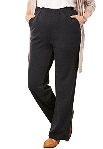 Woman Within Women's Plus Size Petite 7-Day Knit Wide Leg Pant - Heather Charcoal, ()
