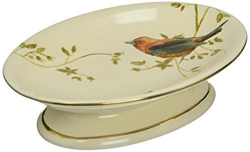 Avanti Linens Gilded Birds Soap Dish, Ivory