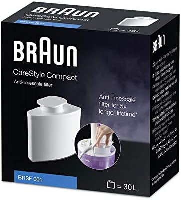 Braun BRSF 001 Anti-limescale Filter - Compatible with Braun CareStyle Compact steam Iron Stations - Holds 30 litres / 23 Water Tank fillings for Longer steam Iron Life