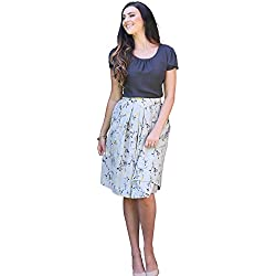 Mikarose Pleated Full A-Line Modest Skirt In Gray w/Yellow Floral Print