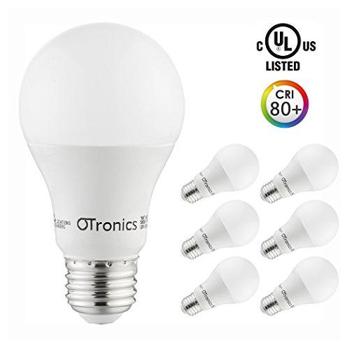 Otronics LED Light Bulb A19,9W Non-Dimmable LED Bulb [60W Equivalent], 5000K (Daylight Glow), 800 Lumens, Medium Screw Base(E26), UL-Listed (Pack of 6)