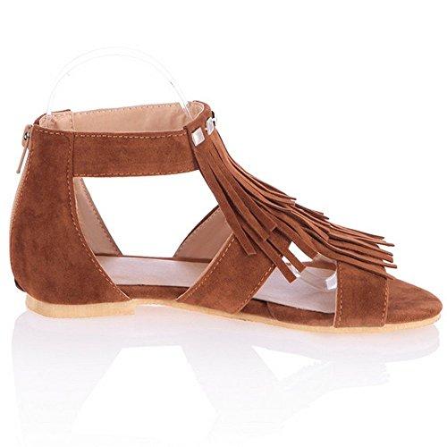 Coolcept Women Tassels Rivets Zipper Open Toe Ankle Wrap Flat Sandals Shoes Brown m7iufDCG