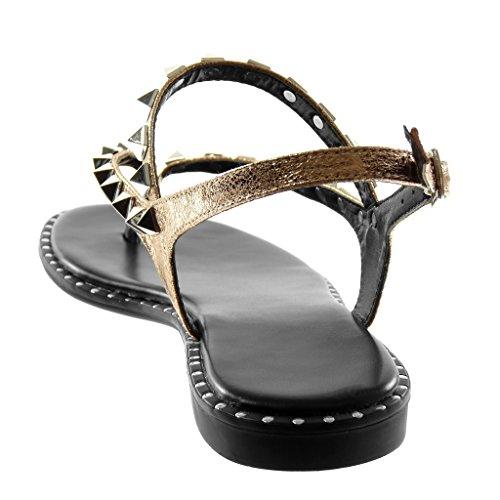 Angkorly Zapatillas Moda Sandalias Chanclas Correa de Tobillo Metalizado Mujer Multi-Correa Tachonado Brillantes Tacón Ancho 1.5 cm Champán