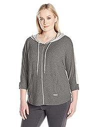 Calvin Klein Performance Women\'s Plus Sizezip Front Dolman Sleeve Colorblock Hoodie Size, Heather Grey, 1X