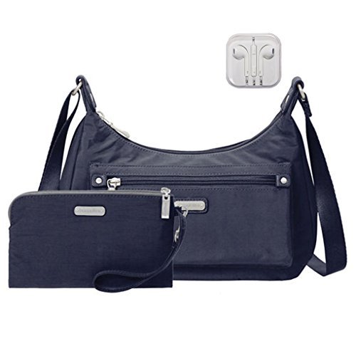 Out Earphones Shoulder with Travel Baggallini Navy About Bag Wristlet Bundle RFID amp; gZxqTwOd