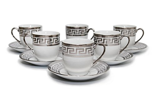 Royalty Porcelain 12pc Silver Miniature Coffee Set, 6 Silver-Plated Cups w/ Saucers, Greek Pattern Bone China Tableware -