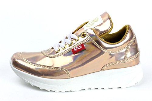 Damen Mode Komfort Schnürer Turnschuhe Flache Schuhe Sneakers Fitnessstudio Fitness Pumps - Aprikose/glänzend, EU 36