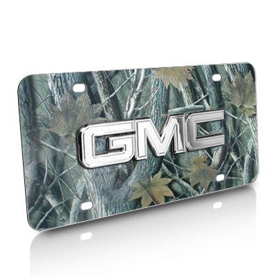 GMC 3D Chrome Logo Camouflage Steel License Plate