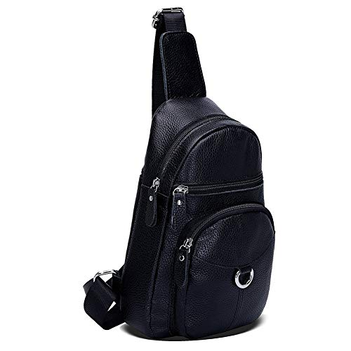 For Casual Cycling Leather Cow Backpack Travel Men Women Bags Black Bag Crewell Shoulder Chest Sling Camping P4wq68