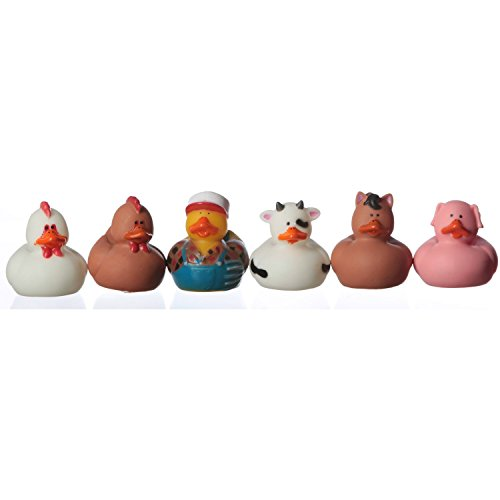 Fun Express Farm Animal Rubber Ducks Duckies Party Favors - 12 Pieces