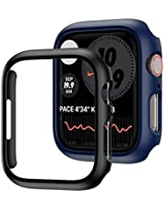 2 Pack Compatible for Apple Watch Series 7 45mm Case,JZK Hard PC Bumper Case Protective Cover Frame for iWatch Series 7 45mm Accessories [NO Screen Protector],Black+Blue