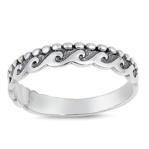 Ball Bead Wave Ocean Tide Stackable Ring New 925 Sterling Silver Band Size ()