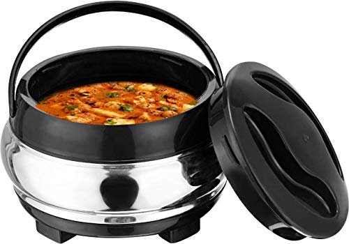 DAINTREE Strong Stainless Steel Insulated Hot Meal Casserole with Lid, 1000 ml
