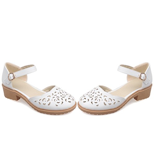 Shoes Dear Out White Heel Women Low Time Hollow Strap xwRPS