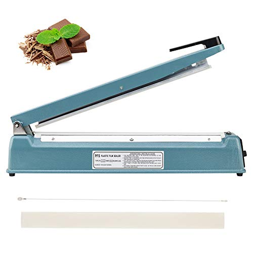 ROVSUN 16 inch (400mm) Manual Impulse Heat Sealer Poly Plastic Mylar Cellophane Shrink Wrap Bags Sealing Machine Hand-held with with Extra Heating Element & Teflon Sheet