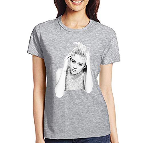 Kimwei Breakout Hannah Montana Womens Printing DIY Short Sleeve Shirt S Grey