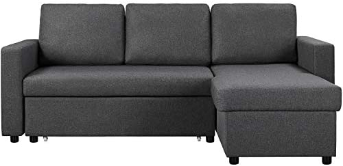 YAHEETECH Living Room Furniture Sets Convertible Sectional Sleeper w/Pull Out Bed & Storage L-Shaped Reversible 4-seat Modern Linen Fabric Reversible Chaise Gray