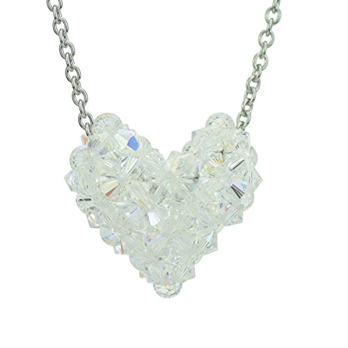 Swarovski Crystal Clear Woven Puffy Heart Necklace with Stainless Steel chain Swarovski Crystal Puffy Heart Pendant