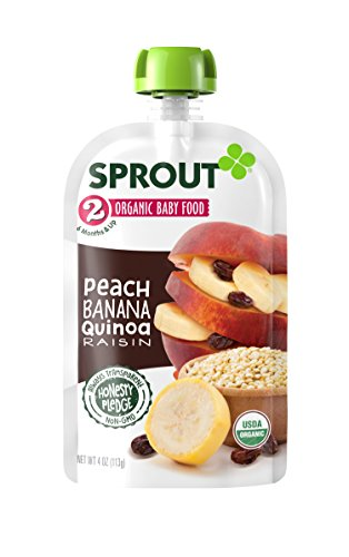 Sprout Organic Baby Food Pouches, Stage 2 Sprout Baby Food, Peach Banana Quinoa Raisin, 4 Ounce (Pack of 5)