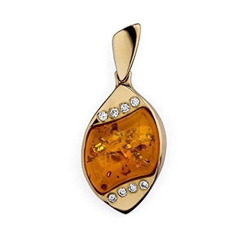 Amazing Ambre et or jaune 9carats avec diamants Pendentif